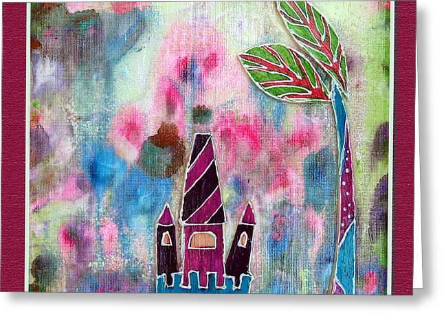 Youthful Mixed Media Greeting Cards - The castle dreams Greeting Card by Aqualia