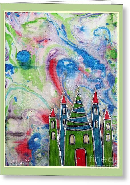 Youthful Mixed Media Greeting Cards - The castle forgives Greeting Card by Aqualia
