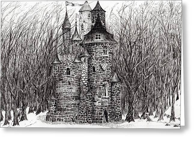 Stone House Drawings Greeting Cards - The Castle in the forest of Findhorn Greeting Card by Vincent Alexander Booth