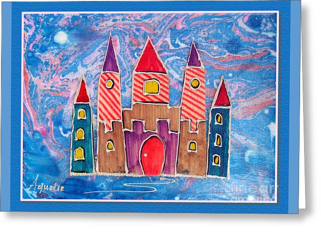 Youthful Mixed Media Greeting Cards - The castle is festive Greeting Card by Aqualia