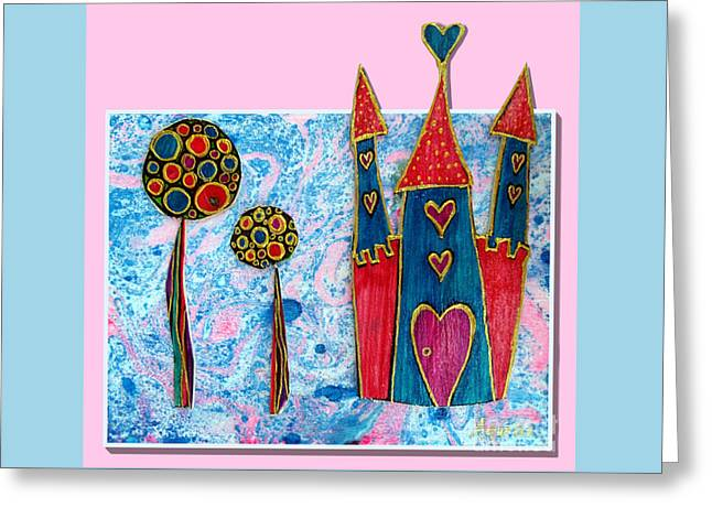 Youthful Mixed Media Greeting Cards - The castle is happy Greeting Card by Aqualia