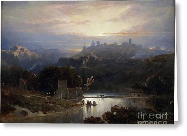 The Castle Of Alcalaa De Guadaiira Greeting Card by David Robert