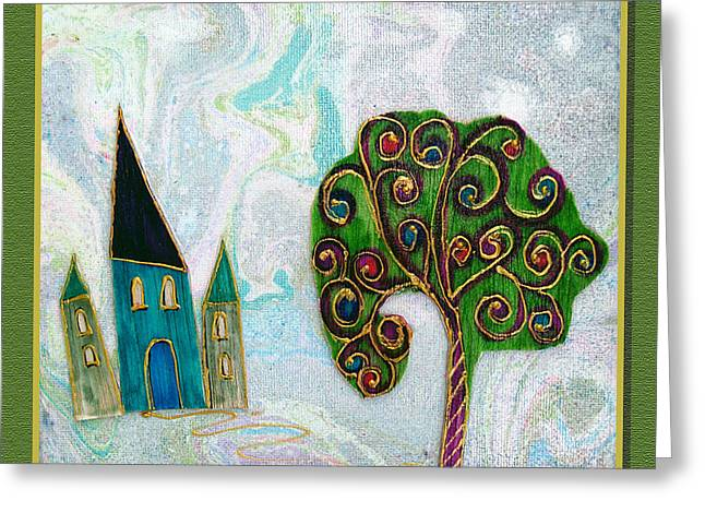 Youthful Mixed Media Greeting Cards - The castle plays Greeting Card by Aqualia