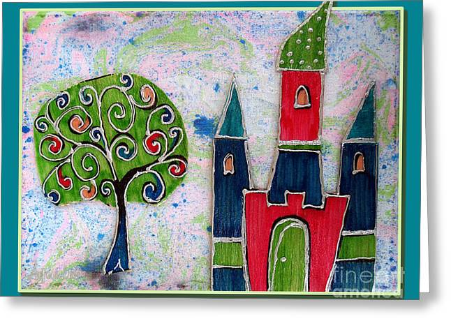 Youthful Mixed Media Greeting Cards - The castle thrives Greeting Card by Aqualia