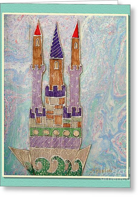 Youthful Mixed Media Greeting Cards - The castle travels Greeting Card by Aqualia