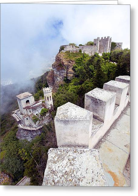Erice Greeting Cards - The Castles Of Erice Sicily Greeting Card by Stuart Johnson