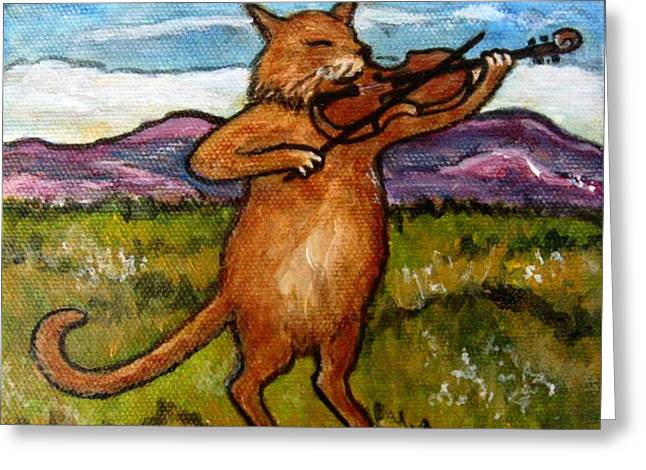 The Cat And The Fiddle Greeting Card by Frances Gillotti
