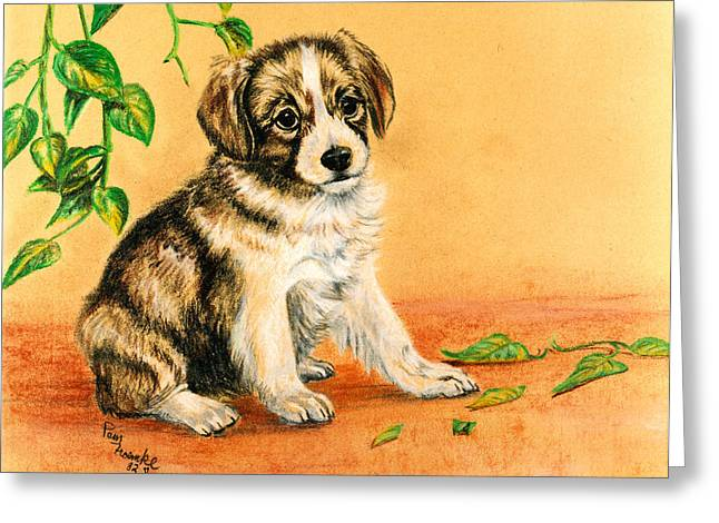 Puppies Pastels Greeting Cards - The Cat Did It Greeting Card by Pam Froemke