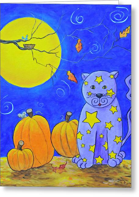 Francis Greeting Cards - The Cat Who Stole The Stars From The Sky Greeting Card by Kenny Francis