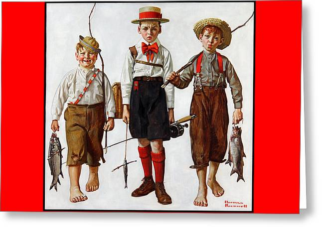 The Catch Greeting Card by Norman Rockwell