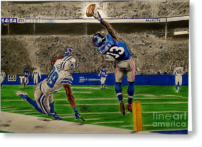 The Catch - Odell Beckham Jr. Greeting Card by Chris Volpe