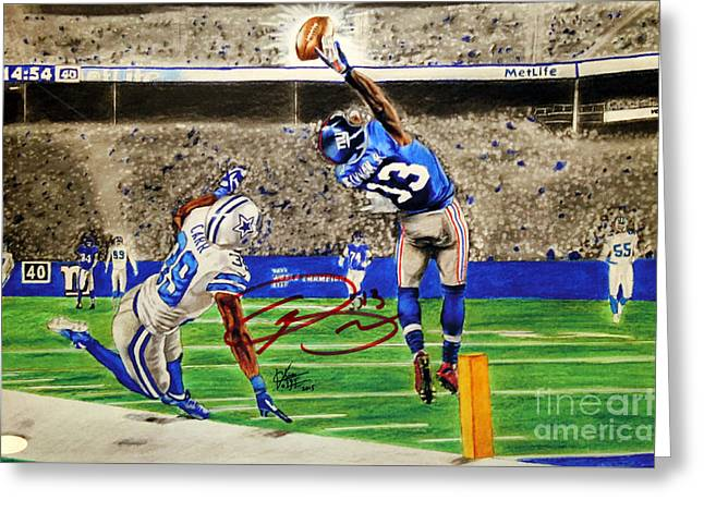 All Star Athlete Drawings Greeting Cards - The Catch - Signed Reprint Greeting Card by Chris Volpe