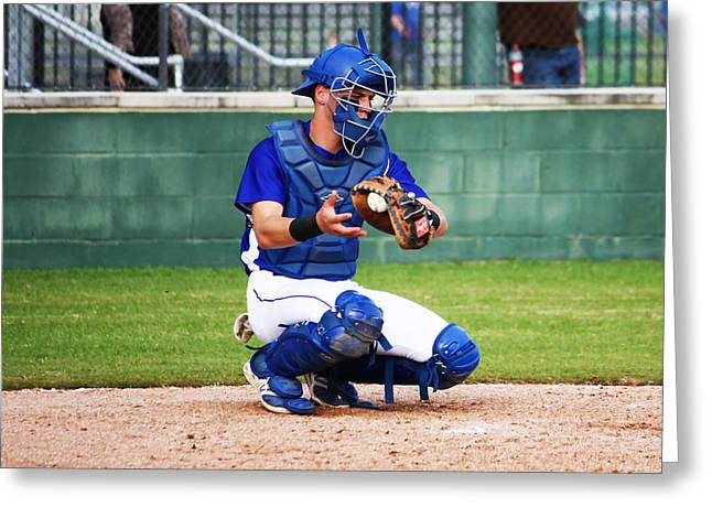 Baseball Uniform Greeting Cards - The Catcher Greeting Card by Jeff Tuten