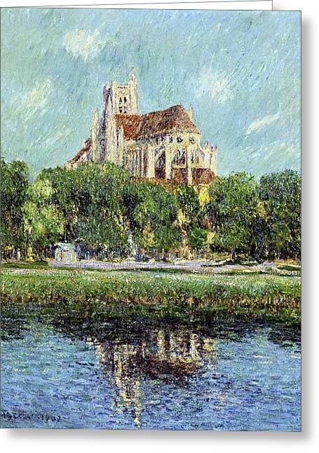 Best Sellers -  - Trees Reflecting In Water Greeting Cards - The Cathedral at Auxerre Greeting Card by Gustave Loiseau