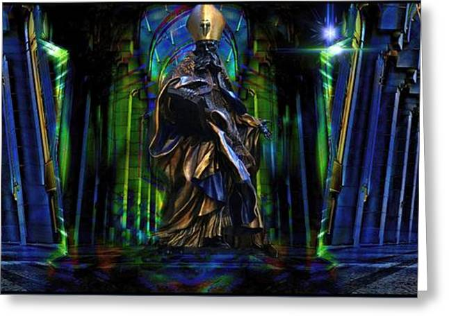Mystic Art Greeting Cards - The Cathedral Of Asghardhya Greeting Card by Daniel  Arrhakis