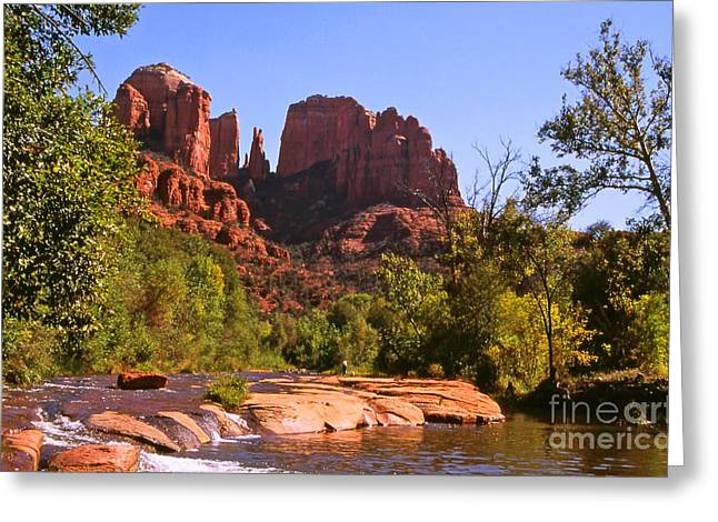 Red Rock Crossing Photographs Greeting Cards - The Cathedral Rocks Greeting Card by Alex Cassels