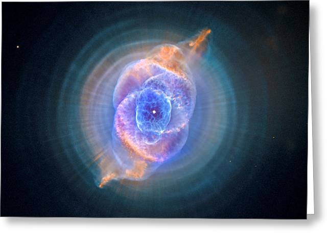 Hubble Space Telescope Greeting Cards - The Cats Eye Nebula Greeting Card by Nicholas Burningham