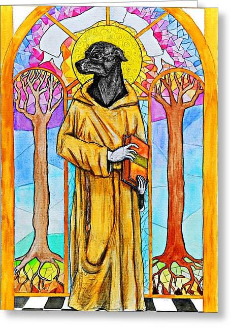The Cautious Saint Greeting Card by Josean Rivera