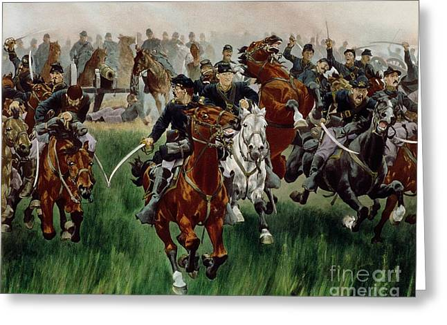 Troops Greeting Cards - The Cavalry Greeting Card by WT Trego