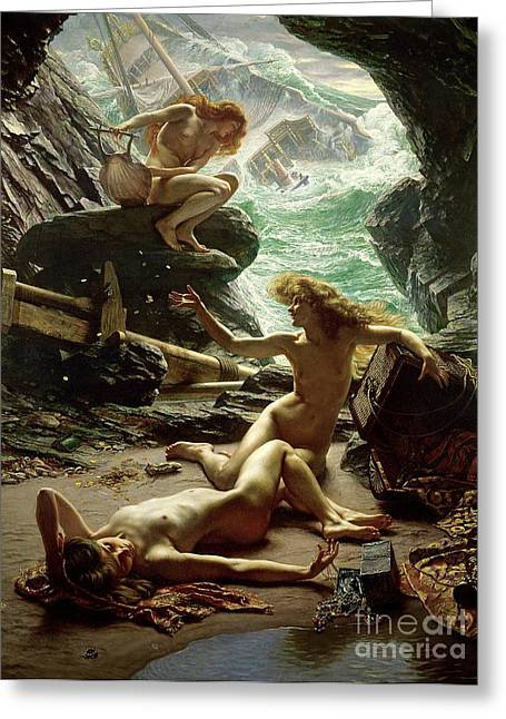 Nude Female Greeting Cards - The Cave of the Storm Nymphs Greeting Card by Sir Edward John Poynter