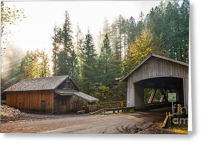 The Cedar Creek Grist Mill And Bridge. Greeting Card by Jamie Pham