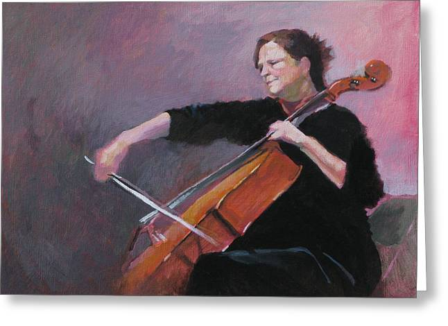 Cellist Greeting Cards - The Cellist Greeting Card by Robert Bissett