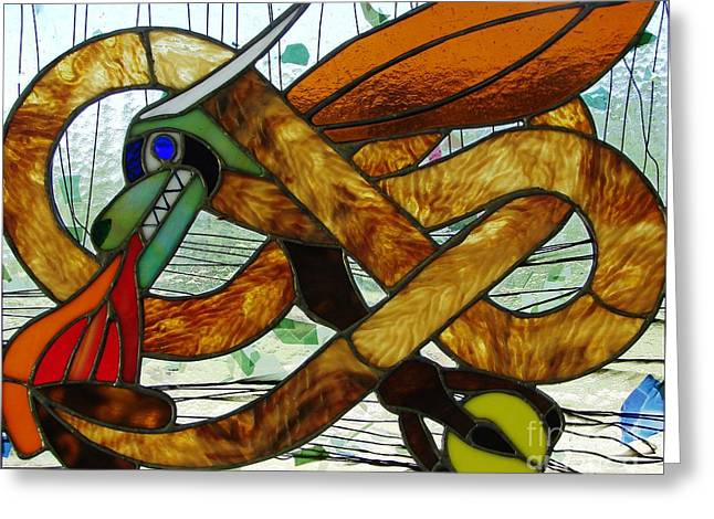 Panel Glass Art Greeting Cards - The Celtic Dragon Greeting Card by Kelvin Mays