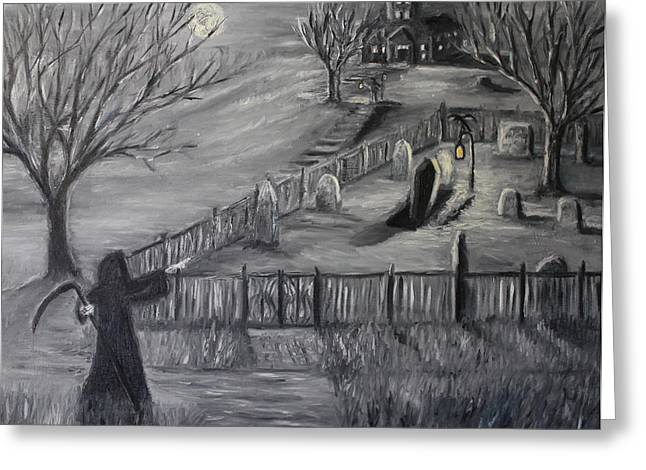 Haunted House Paintings Greeting Cards - The Cemetary Greeting Card by Daniel W Green