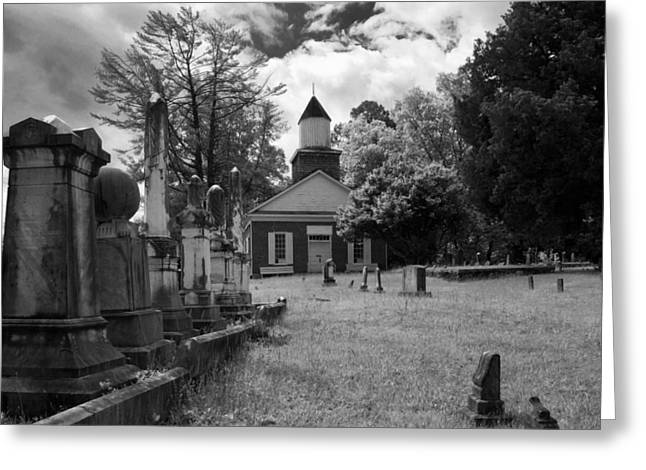 Headstones Greeting Cards - The Cemetery At Harshaw Chapel in Black and White Greeting Card by Greg Mimbs