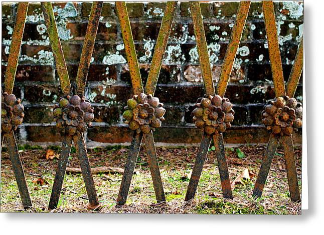 Iron Sculptures Greeting Cards - The Cemetery Gate Greeting Card by E A