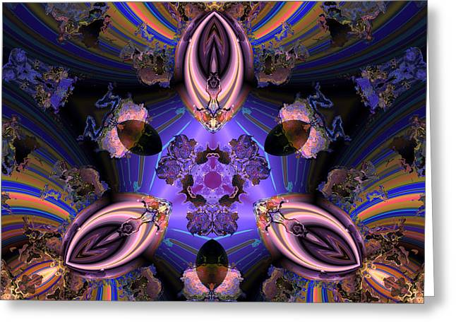 Algorithmic Greeting Cards - The center of purple Greeting Card by Claude McCoy