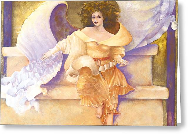Religion Tapestries - Textiles Greeting Cards - Chakra Angel Joy #7 Greeting Card by Diane Givens