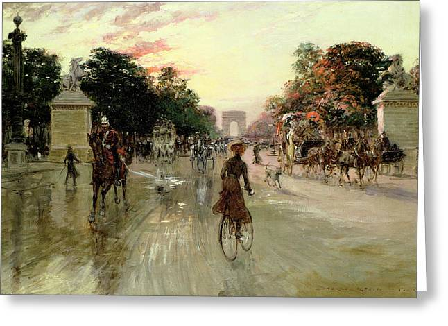Ladies Bike Greeting Cards - The Champs Elysees - Paris Greeting Card by Georges Stein