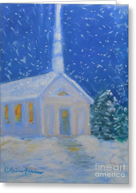 Night Time Pastels Greeting Cards - The Chapel Greeting Card by Claire Norris