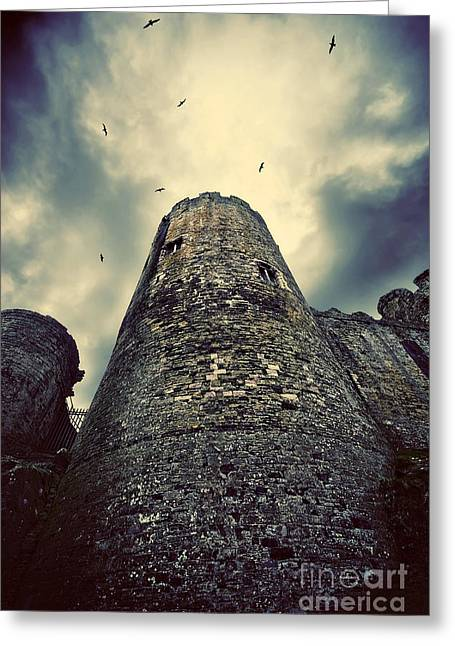 Defensive Greeting Cards - The chapel tower Greeting Card by Meirion Matthias
