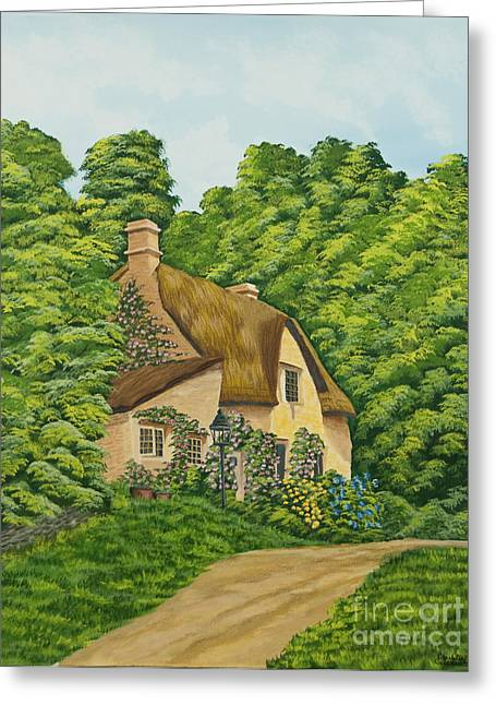 Country Cottage Greeting Cards - The Charm Of Wiltshire Greeting Card by Charlotte Blanchard