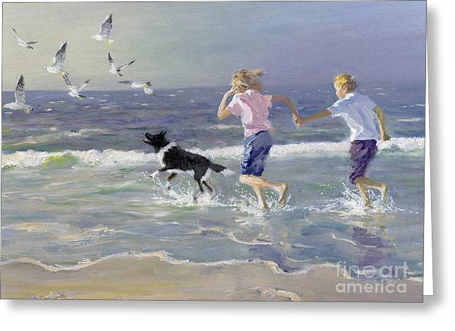 On The Beach Greeting Cards - The Chase Greeting Card by William Ireland