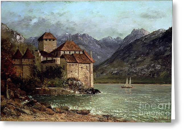 Alpine Greeting Cards - The Chateau de Chillon Greeting Card by Gustave Courbet