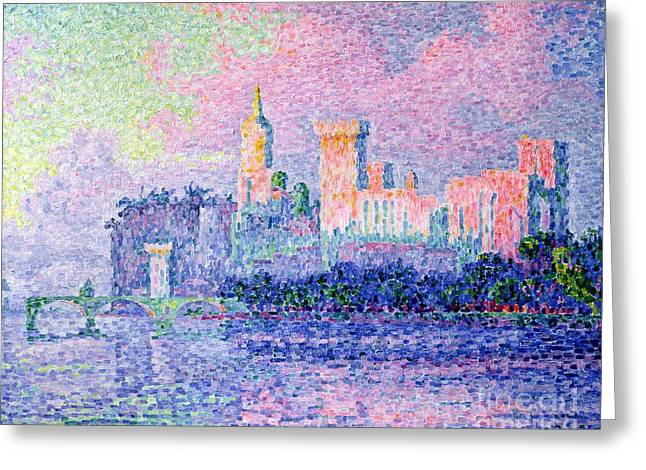 Popes Greeting Cards - The Chateau des Papes Greeting Card by Paul Signac