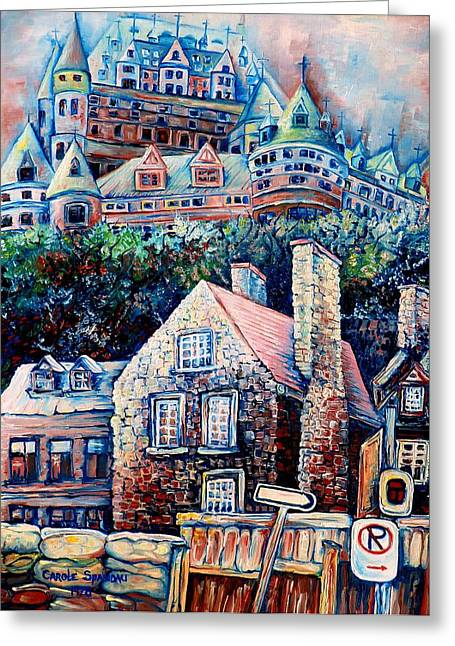 Montreal Winter Scenes Paintings Greeting Cards - The Chateau Frontenac Greeting Card by Carole Spandau