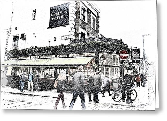 Chelsea Digital Art Greeting Cards - The Chelsea Potter Pub London UK Greeting Card by Alan Armstrong