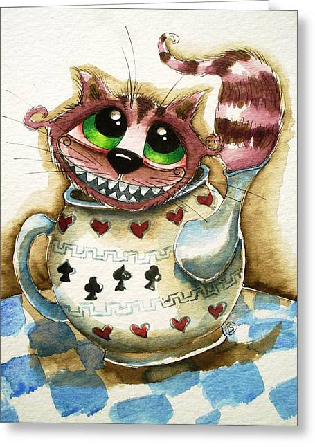 The Cheshire Cat - In A Teapot Greeting Card by Lucia Stewart