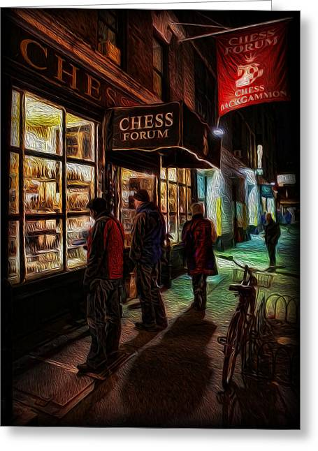 The Chess Forum Greeting Card by Lee Dos Santos