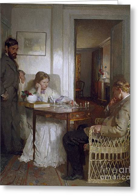 The Chess Players Greeting Card by Sir William Orpen