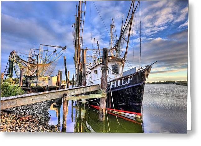 Docked Boats Greeting Cards - The Chief Greeting Card by JC Findley
