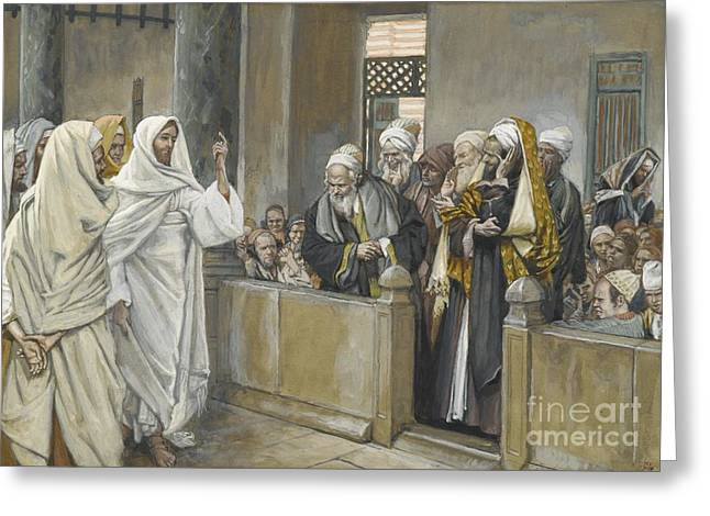Les Greeting Cards - The Chief Priests Ask Jesus by What Right Does He Act in This Way Greeting Card by James Jacques Joseph Tissot