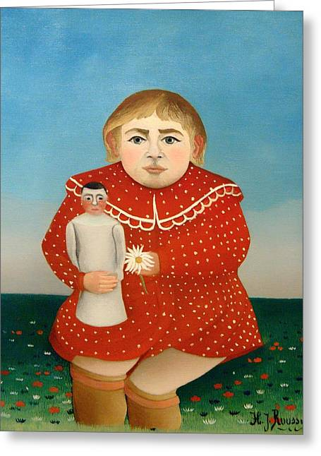 The Child And The Orange Doll Greeting Card by Mountain Dreams