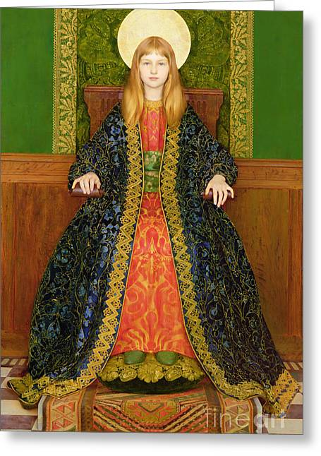 Checker Greeting Cards - The Child Enthroned Greeting Card by Thomas Cooper Gotch