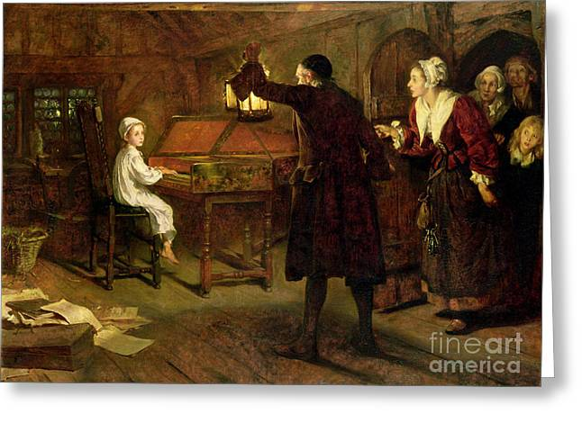 Lessons Paintings Greeting Cards - The Child Handel Discovered by his Parents Greeting Card by Margaret Isabel Dicksee