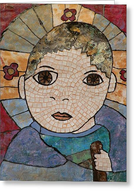 Child Jesus Mixed Media Greeting Cards - The Child Jesus Greeting Card by Carol Cole